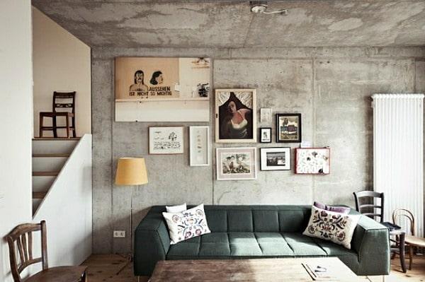 Beton behang in de woonkamer